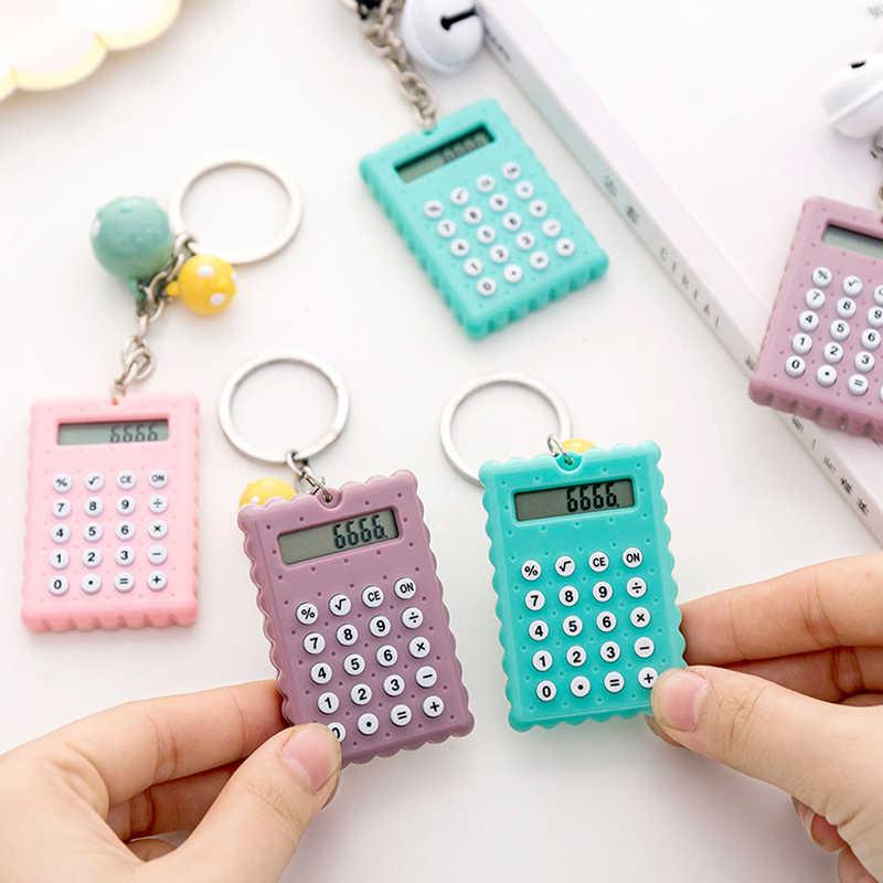Kreatywny Cartoon herbatniki kształt Mini kalkulator brelok przenośny kalkulator kieszonkowy Student z brelok Bell wisiorek prezenty
