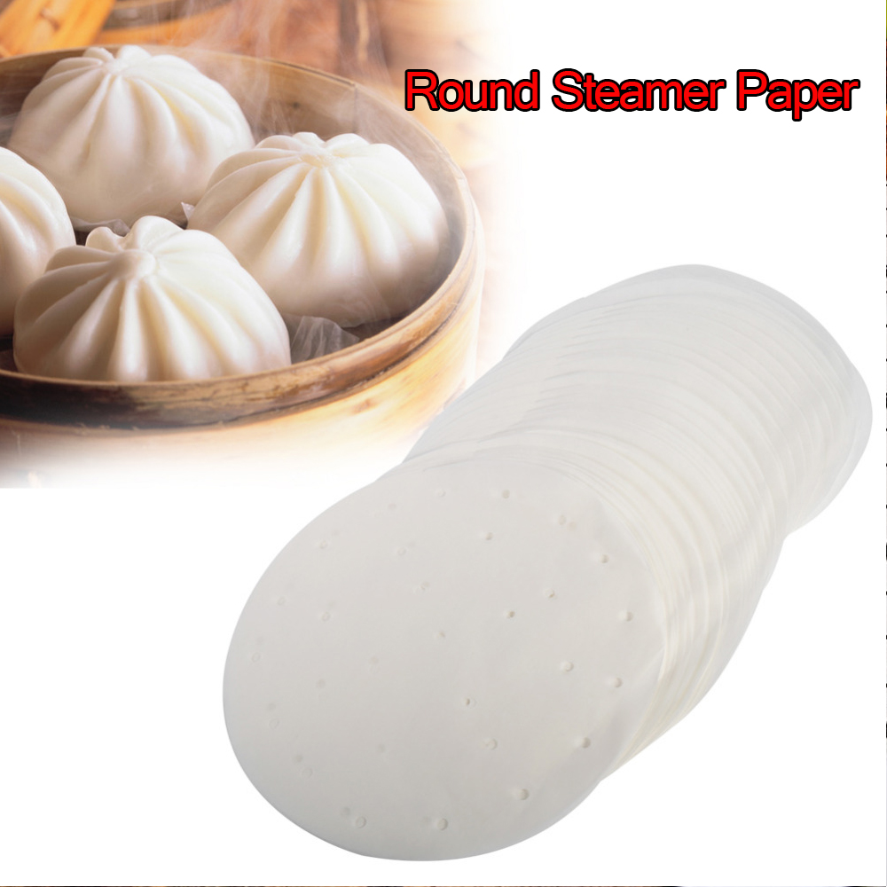 50PC White Bamboo Basket Steamer Paper 4/6/8/10inch Kitchen Cooking Bamboo Steamer Round Non Stick Dim Sum Paper Under Steam Mat