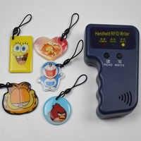 125 Khz Handheld Rfid-lesegerät Schriftsteller ID Schlüsselanhänger Karte Copier + 5 stücke Beschreibbare T5577 Epoxy Schlüssel