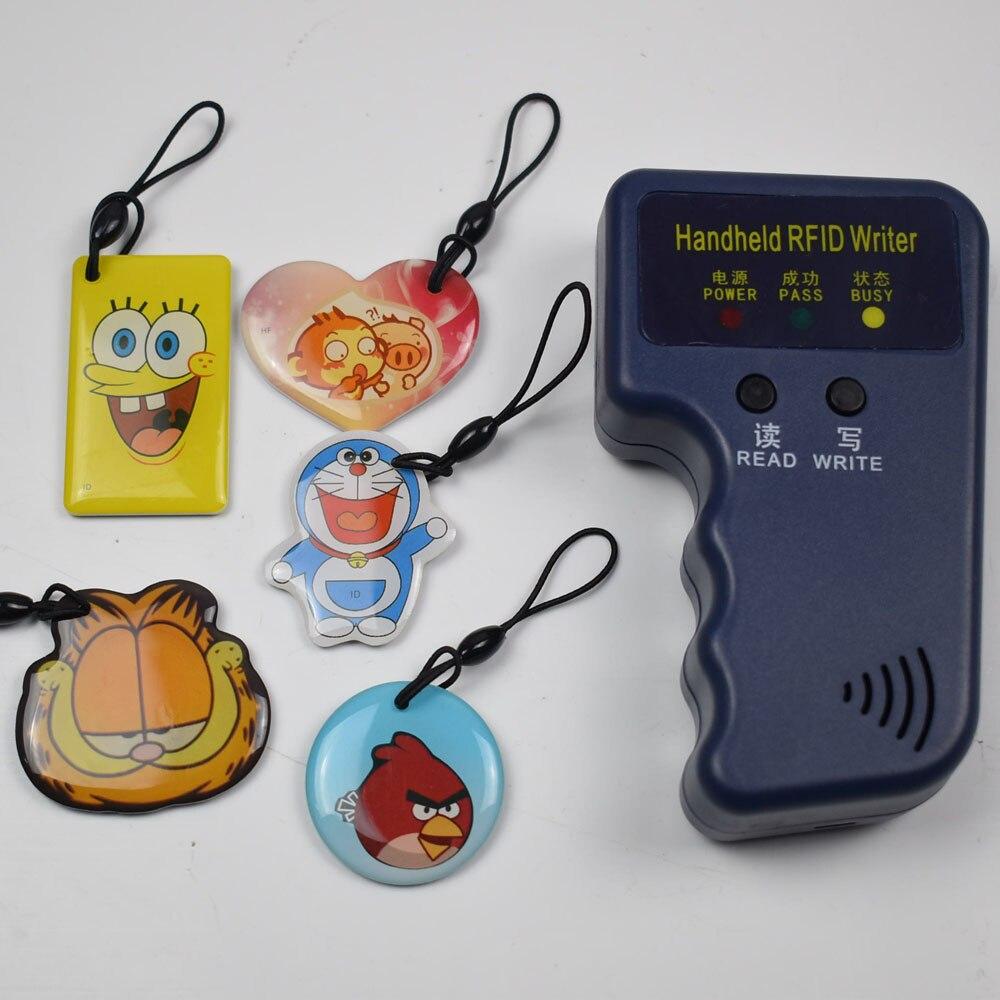 125Khz Handheld RFID Reader Writer ID Keyfob Card Duplicator Copier + 5pcs Writable T5577 Epoxy Keys