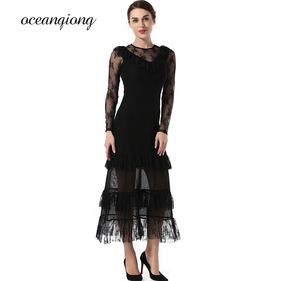 Sexy Lace Dress Party Desses Women Black Vintage Spring Summer 2018 Hollow Out O neck Long Sleeve Tight Slim Long Dress Female