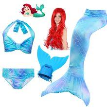 adb9061f3b10d Girls Kids Bikini Swimsuit Mermaid Tail for Swimming Swimwear Mermaid Wig  Costume Children Bathing Suit with