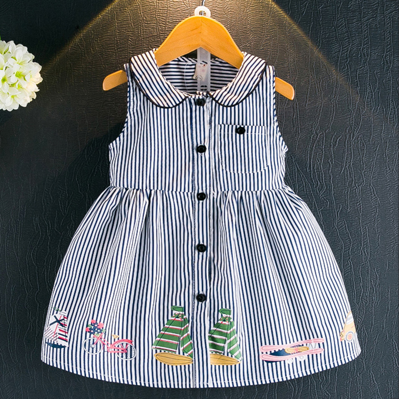 Girls Dresses 2017 New Summer Brand Kids Dress Peter pan Collar Sleeveless Striped Pattern Children Clothes Baby Girls Dresses y 1084040 retail new 2015 summer girls top peter pan collar printing parrot birds girl blouses tees children t shirts clothes