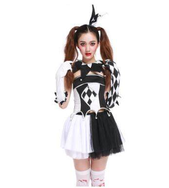V&ire Ghost Clown Costumes For Women Halloween Harlequin Clown Circus Cosplay Adult Funny Black White Plaid skirt Dress  sc 1 st  Aliexpress & Online Shop Vampire Ghost Clown Costumes For Women Halloween ...