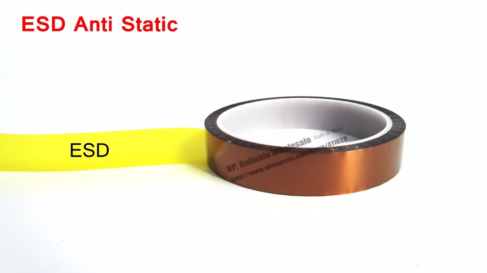 0.06mm Thick 200mm*20M Anti ESD Static ESD One Face Adhered Tape, Poly imide for Wave Solder Solder Dip Process Mask, Protect 0 06mm thick 160mm 20m heat withstand esd one face glued tape poly imide for relays transformers