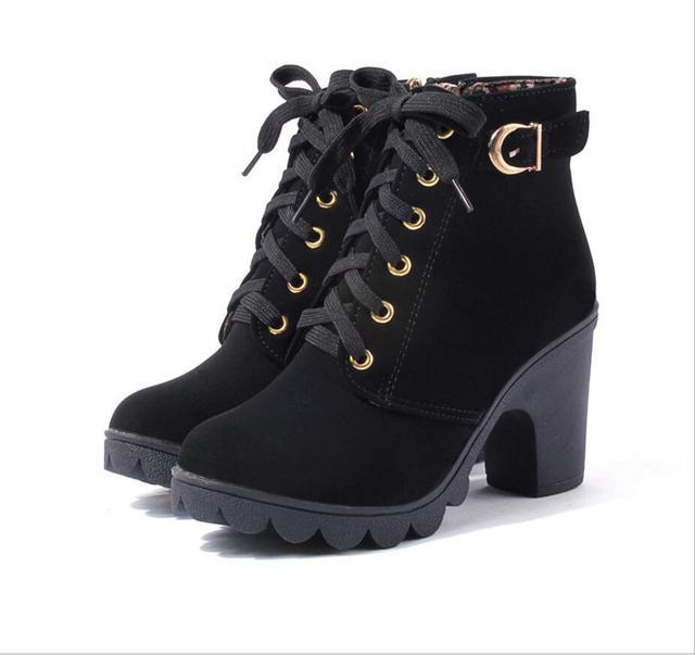 Areqw/2017 Европа и США осенние и зимние высококачественные зимние сапоги теплые грубые женские ботинки Бесплатная доставка