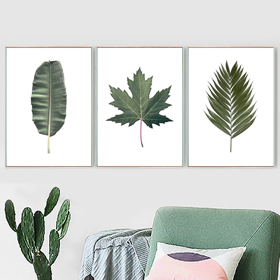 US $3 18 44% OFF|Tropical Green Palm Maple Banana leaf Wall Art Canvas  Painting Nordic Posters And Prints Wall Pictures For Living Room Decor-in