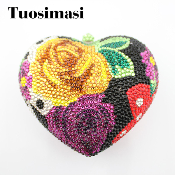 New Design Heart Shape Evening Bag Flower Stone Crystal Luxury Clutch Bag Diamond Ladies Handbags Party Purse Wedding Bag(B1014) aidocrystal heart shape factory direct sell fashion woman diamond clutch for lady
