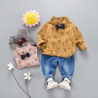 Cotton Baby boy Clothing Sets Formal Infant Birthday Party Clothes Suit T shirt+Pant Children's Cloth Sets
