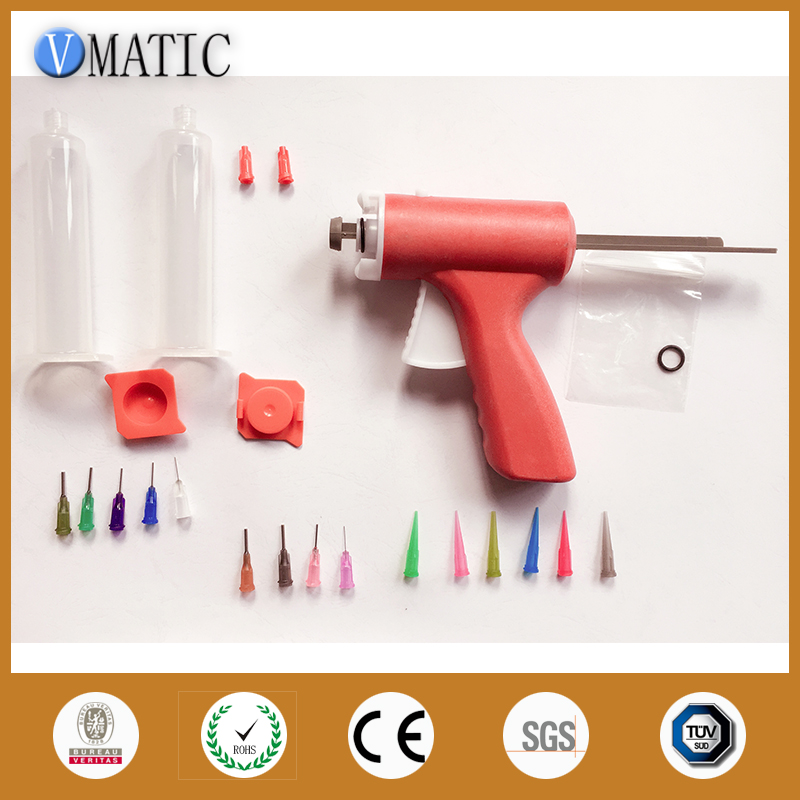 купить Manually single liquid glue gun 10CC Common 1PCS + 10CC cones + Dispensing Needle Tips + Syringe with Red cap and Red cover по цене 1631.26 рублей