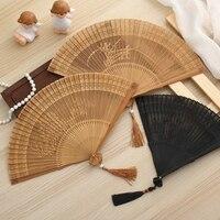 Handmade female fan carving Antique classical folding fan Creative Gift Bamboo hollow process fan Carved Wooden Flower Folding
