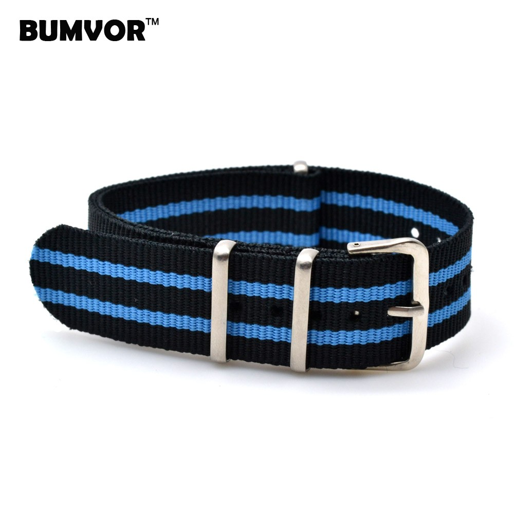все цены на Wholesale 18 mm Multi Color Black Blue Army Sports nato fabric Nylon watchband Watch Strap Wristwatch Bands Buckle belt 18mm онлайн