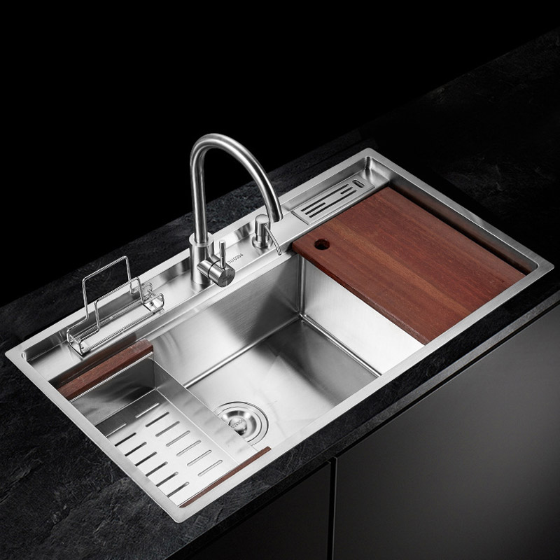 304 Stainless Steel Manual Single Bowl Slot 8848 Manual Drawing Basins Thicken The Stage The Audience Kitchen Sink  With Faucet