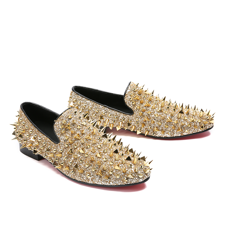 US $99.2 20% OFF|Luxury Shinny Mens Shoes Glitter Gold Black Spikes Shoes New Factory Customized SlipOn Rivets Loafer Men Casual Shoes Zapatillas in