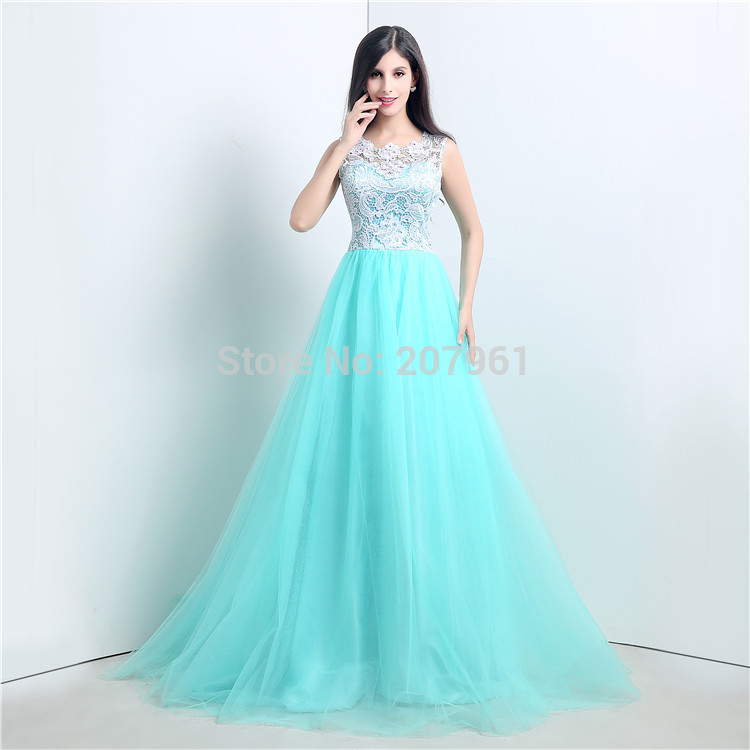 Aliexpress.com : Buy A line Turquoise Prom dress 2015 Formal ...