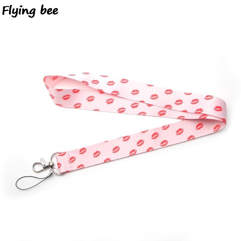 Flyingbee Kiss Pink Keychain Lanyard Badge Lanyards Mobile Phone Rope Keyring Key Lanyard Neck Strap Accessories X0252