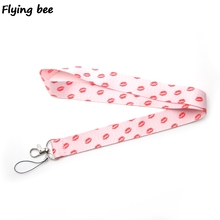 Flyingbee Kiss Pink Keychain lanyard Badge Lanyards Mobile Phone Rope Keyring Key Lanyard Neck Strap Accessories X0252
