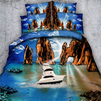 Free shipping 3d bike/boat/motor van 1 duvet cover&2 pillow cases home textile twin/full/queen/king/super king size bedding set