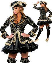 Ensen grado Karibik Caribbean pirate queen disfraces De Halloween cosplay ropa puesta en escena Mono-ojo modelado traje