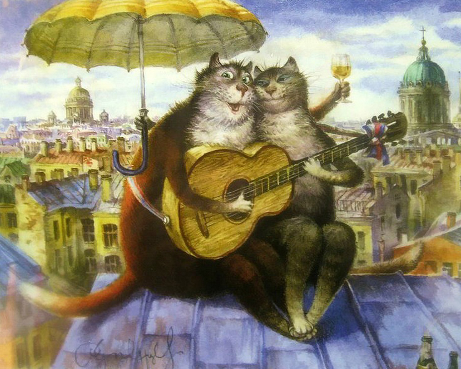 High Quality Paste Diy Music Cat On Roof Embroidery Mosaic