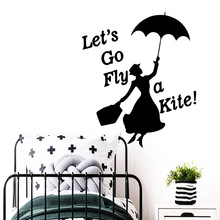 Custom lets go fly a kite Sentence Pvc Wall Art Stickers Wallsticker For Baby Room Vinyl Mural Bedroom Decal