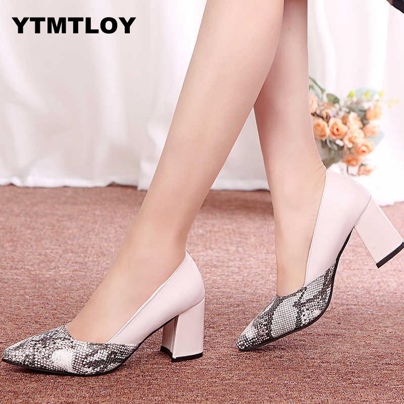 Ladies Shoes Pumps-Toe Mid-Heels Ankle-Strap Square Snake Work Rough Comfortable Women
