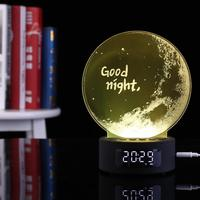 Bluetooth Alarm Clock Projection Audio Galaxy 3d Night Light Colorful Digital Table Wooden Clock Gadgets Electronic