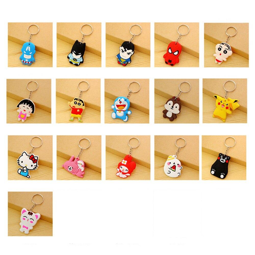 suti cute Anime Cartoon PVC Keychain Cartoon characters KT key chain keyring bag phone straps chain for women kid Student gift cute cactus keyring for women