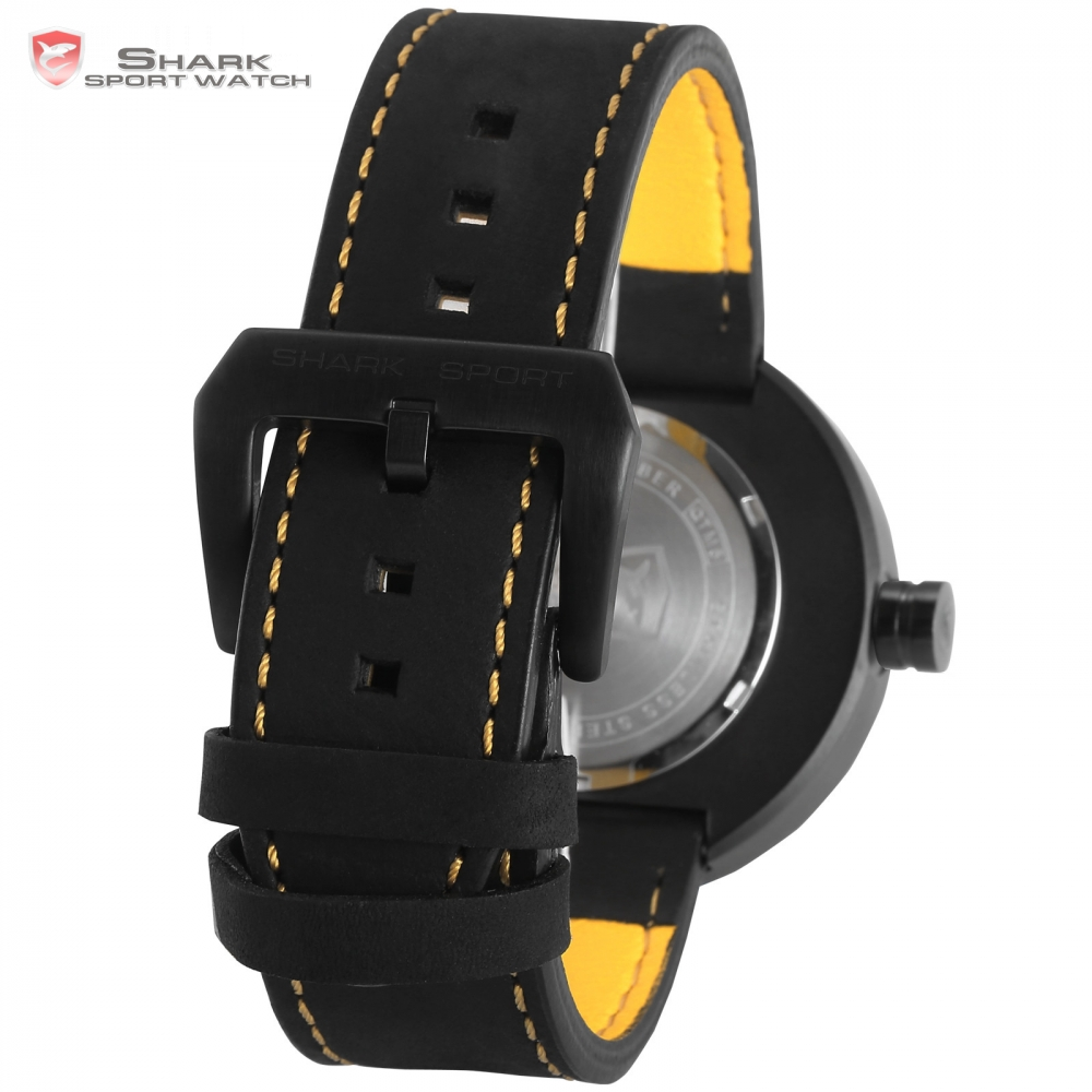 Bonnethead Shark Sport Watch Yellow Men Top Brand Relogio Masculino Rotate Contrast Crazy Horse Leather Wrist Gift Watches/SH423