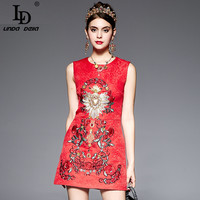 High Quality New 2016 Summer Fashion Runway Slim Red Dress Women S Sleeveless Diamonds Embroidery Beading