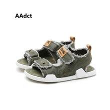 AAdct 2017 summer High-quality boys sandals Brand pigskin Denim little kids sandals for girls shoes