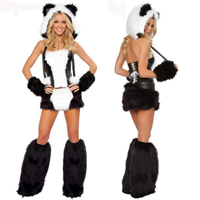 f80047e496f4 Sexy Christmas Panda Costumes Outfit Women Fancy Cosplay Uniforms Jumpsuit  Tights Nightclubs 5 Sets Theme Party
