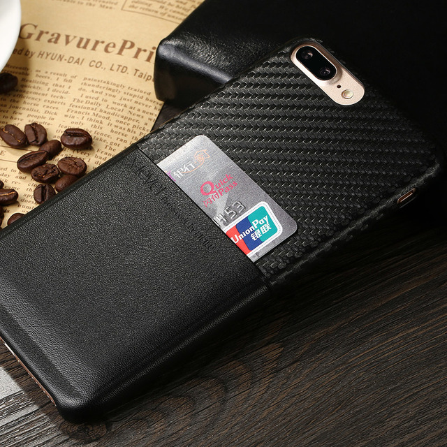 X-nivel para iphone 7 pu ranura para tarjeta de cuero de lujo caja del teléfono para iphone 7 plus