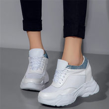 2019 Punk Creepers Tennis Shoes Women Trainers Cow Leather Wedges High Heel Pumps Lace Up Breathable Sneakers Casual