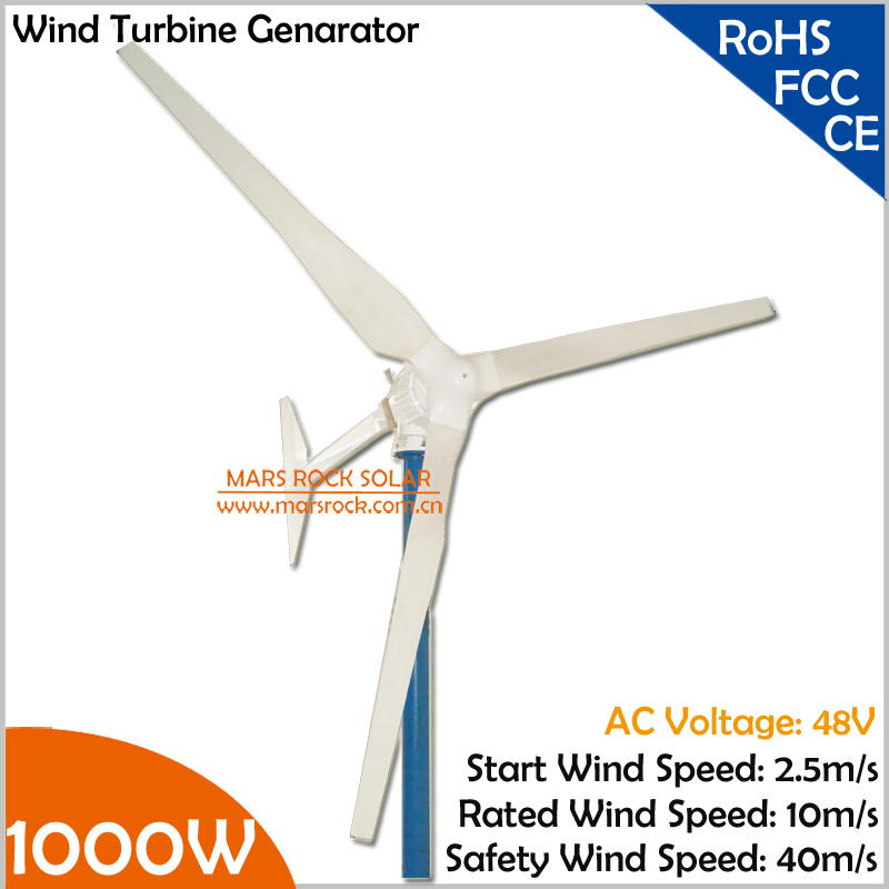 2.5m/s start wind speed 3 blades AC three phase horizental axis 1000W 48V wind turbine generator 2.7m rotor diameter max 900w 2 5m s start up wind speed 2 2m wheel diameter 3 blades 800w 48v wind turbine generator