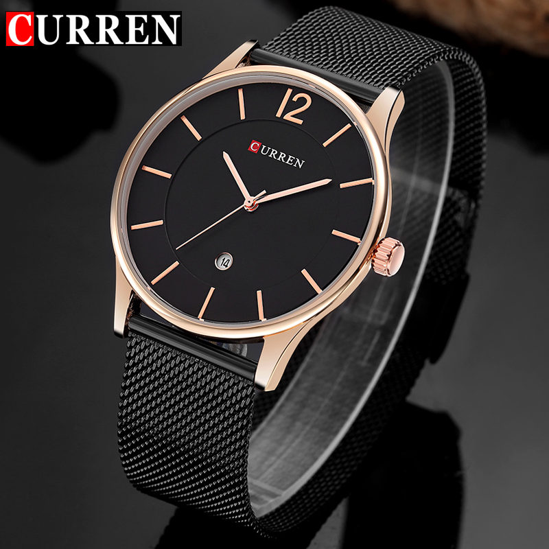 CURREN Luxury Brand Quartz Watch Men's Casual Business Stainless Steel Mesh band Quartz-Watch Fashion Thin Clock male Date New цена 2017