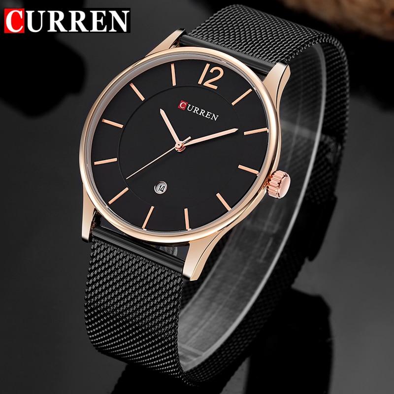 Curren reloj de cuarzo de lujo de marca casual de negocios hombres de malla de acero inoxidable banda de cuarzo reloj de moda Delgado reloj fecha nueva