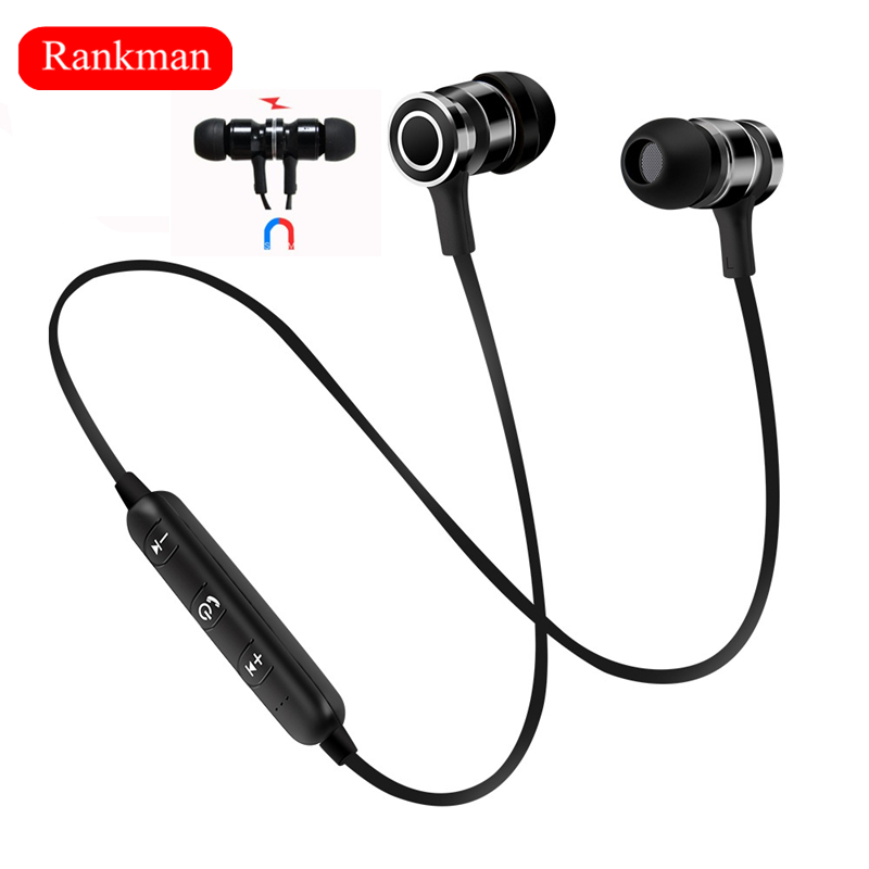 Rankman Sport Bluetooth Earphone Magnet Earpiece DSP Noise Reduction Earbuds Stereo Wireless Earphones with Mic for phones dental endodontic root canal endo motor wireless reciprocating 16 1 reduction