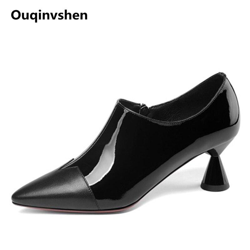 Ouqinvshen Strange Heels Fashion Woman Shoes 2018 Spring Plus Size 33-43 Autumn Pointed Toe Heels Mixed Colors Ladies Pumps 6cm