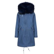 New Real Rex Rabbit Fur Lining Long Denim Parkas Women Winter Genuine Raccoon Fur Collar Hooded Coat Woman Warm Jacket Female