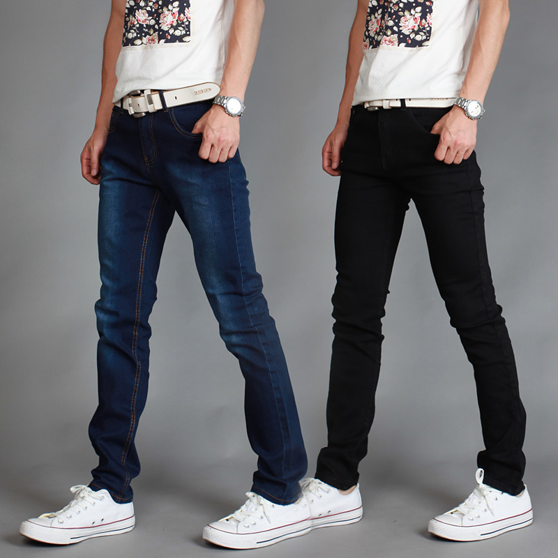 2019 Male Jeans Elastic Force Fashion Slim/men Pencil Pants Jeans Simple Pure Cotton High Quality Cowboy Man Leisure Trousers