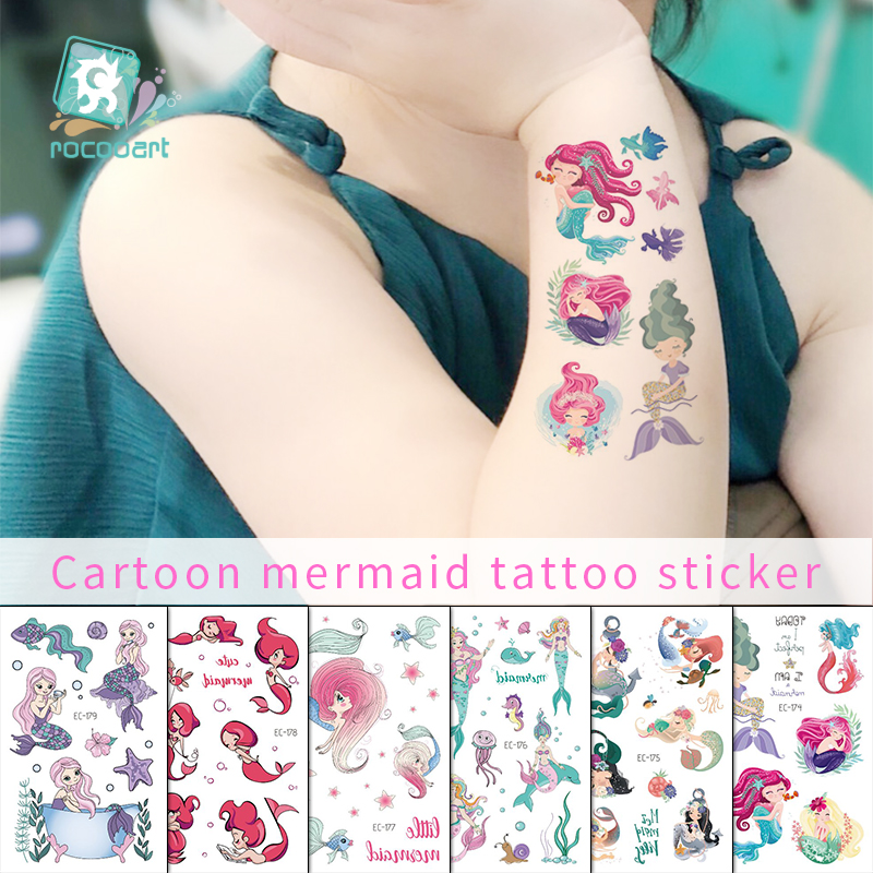 Rocooart Cartoon Kids Tattoo Stickers Mermaid Temporary Tattoo For Girls Fake Tattoo Colorful Taty Children Party Flash Tatoo