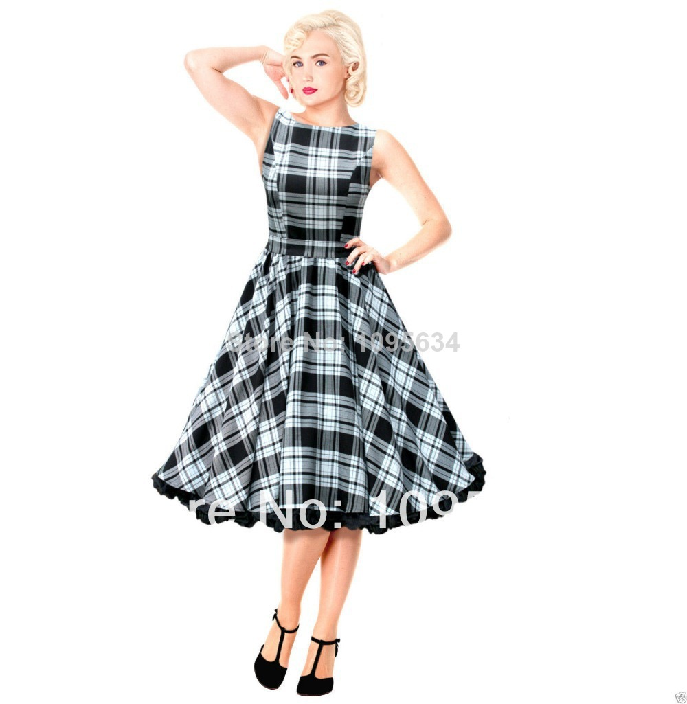 free shipping Swing font b Tartan b font Dress Vintage 50s Rockabilly Party Wedding Pin Up