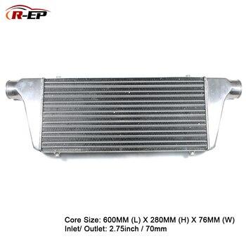 R-EP אלומיניום Intercooler האוניברסלי 600X280X76mm רדיאטור כניסת 70mm 2.75 אינץ לשקע קר צריכת אוויר עבור טורבו Radiador