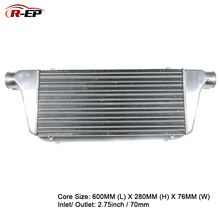 цена на R-EP Aluminum Intercooler Universal 600X280X76mm Radiator Inlet 70mm 2.75inch Outlet Cold Air Intake for Turbo Radiador