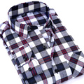 2017 Spring Men's Plaid Checked Brushed Flannel Shirt Classic Turn-down Collar Comfort Soft Casual Slim fit Long Sleeve Shirts
