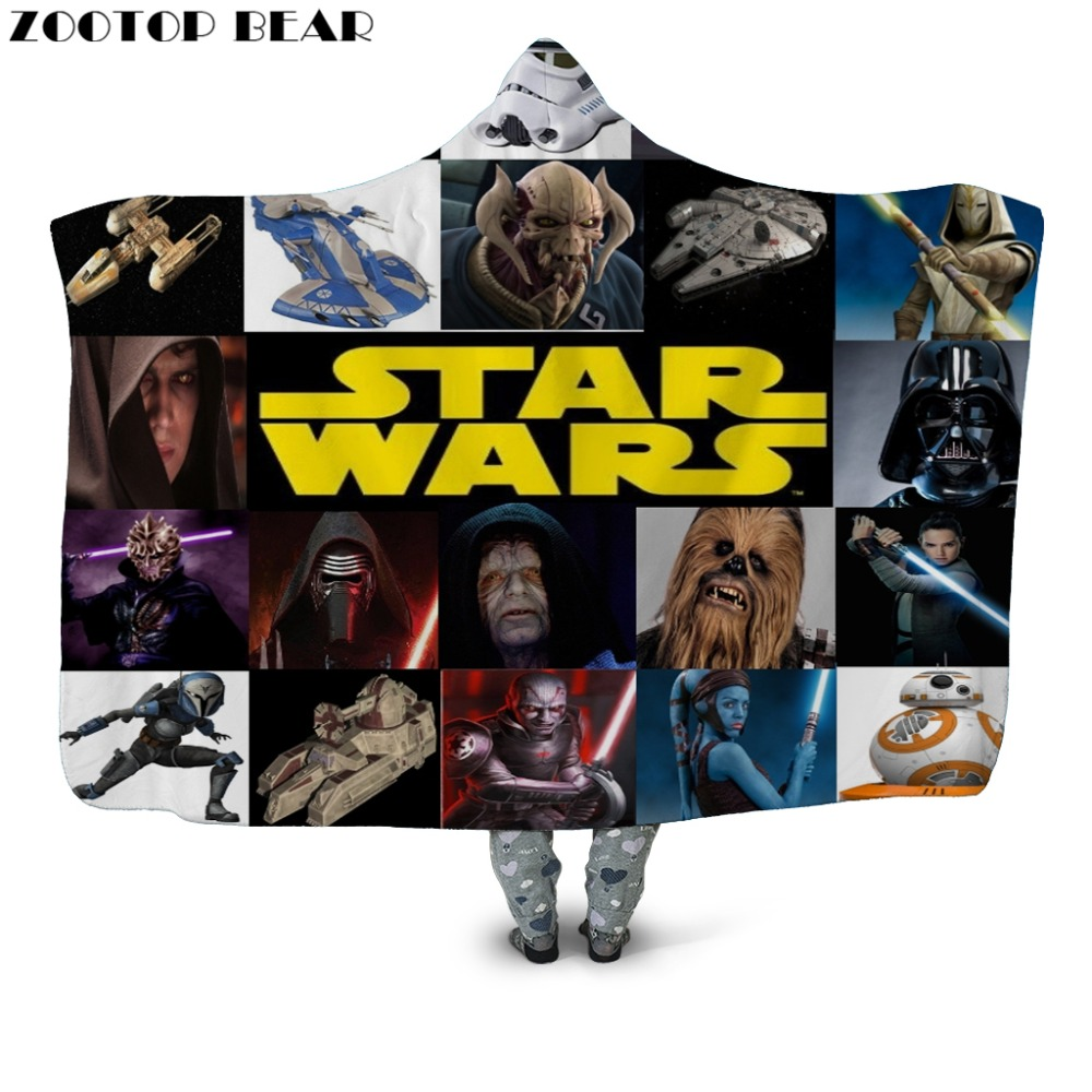 Star Wars 3D Digital Print Hooded Blanket Fleece Throw Cloak Wearable Blankets