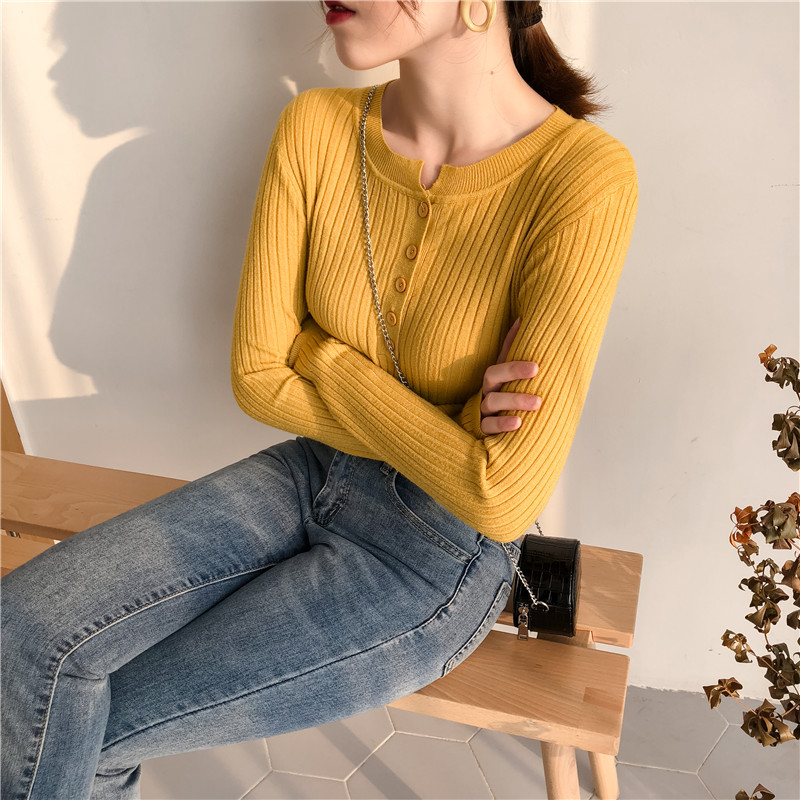 Colorfaith Women Pullovers Sweater New 19 Knitted Autumn Winter Spring Fashion Sexy Elegant Buttons Casual Ladies Tops SW9065 12