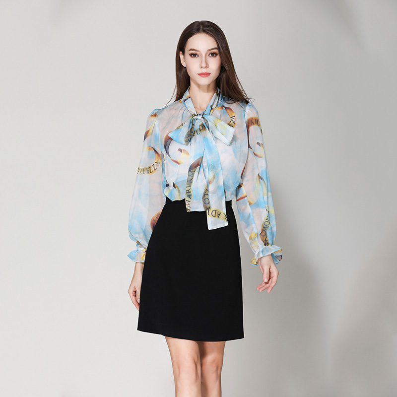 New Arrival Elegant European Women Chiffon Letter Printing Blouse Bow Collar Fashion Loose Beach Shirt High