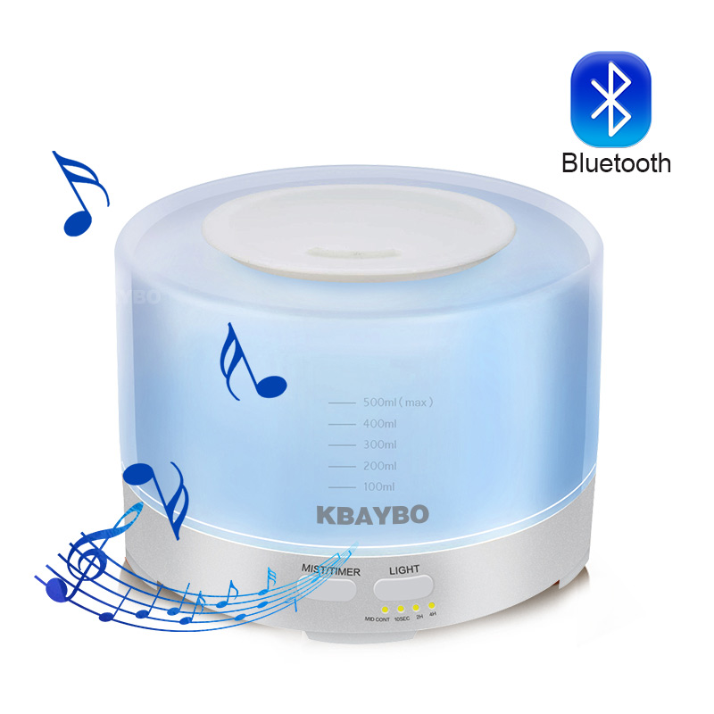 500ml Ultrasonic Air Aroma Humidifier Electric Aromatherapy Essential Oil Diffuser with Bluetooth Music Speaker